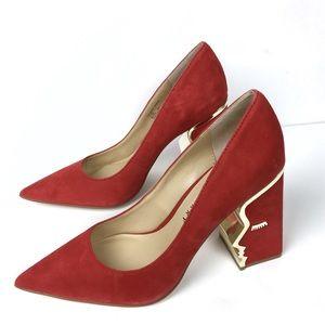 NWOT Katy Perry Red Suede Heels The Celina 9.5